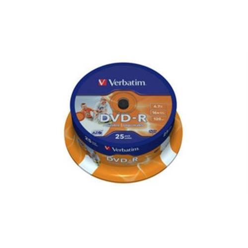 Dvd-r Verbati. 16x 4,7gb Printable -p25