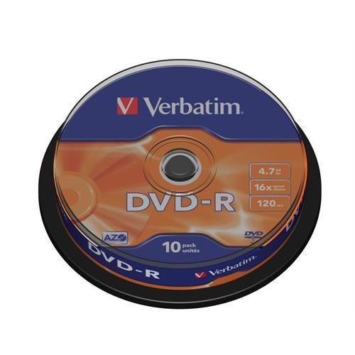 Dvd-r Verbati. 16x 4,7gb Azo -cake10