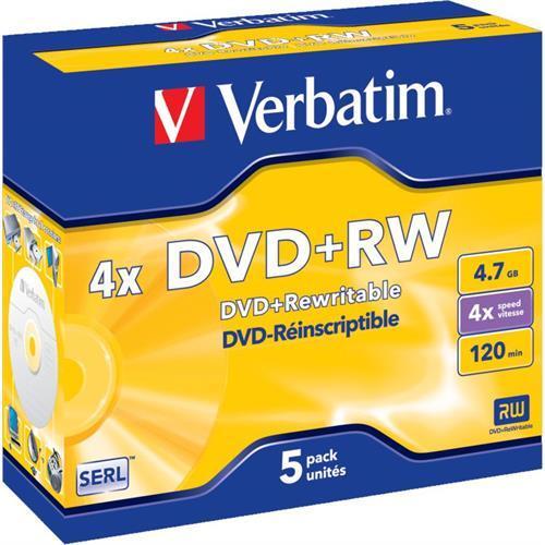 Dvd+rw Verbati. 4x 4,7gb Colour S-pack5